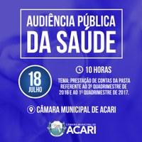CÂMARA MUNICIPAL DE ACARI CONVIDA POPULAÇÃO PARA AUDIÊNCIA PÚBLICA DA SAÚDE