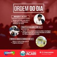 A Câmara Municipal de Acari divulga a Ordem do Dia da 13ª Sessão Ordinária