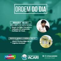 A Câmara Municipal de Acari divulga a Ordem do Dia da 14ª Sessão Ordinária