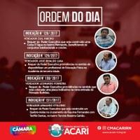 A Câmara Municipal de Acari divulga a Ordem do Dia da 7ª Sessão