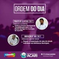 A Câmara Municipal de Acari divulga a Ordem do Dia da 9ª Sessão