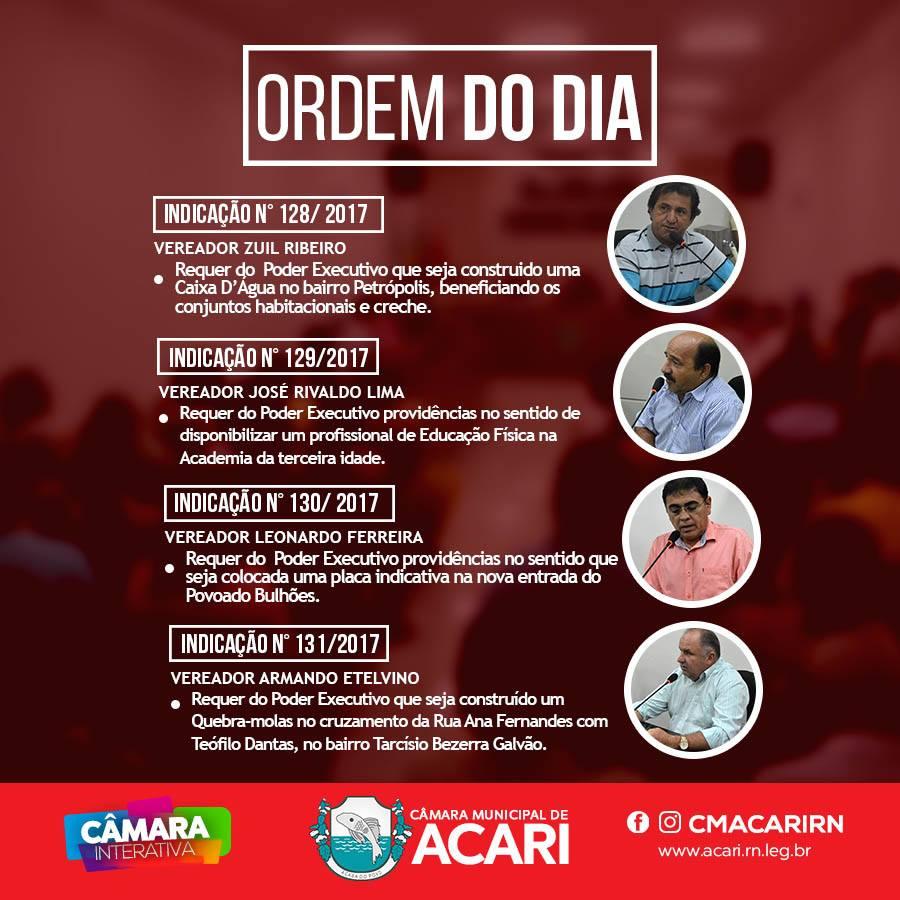 A Câmara Municipal de Acari divulga a Ordem do Dia