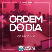 A Câmara Municipal de Acari divulga a seguir a Ordem do Dia da 14ª Sessão Ordinária