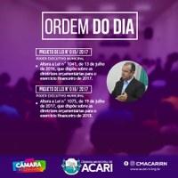 A Câmara Municipal de Acari divulga a seguir a Ordem do Dia da 16ª Sessão Ordinária