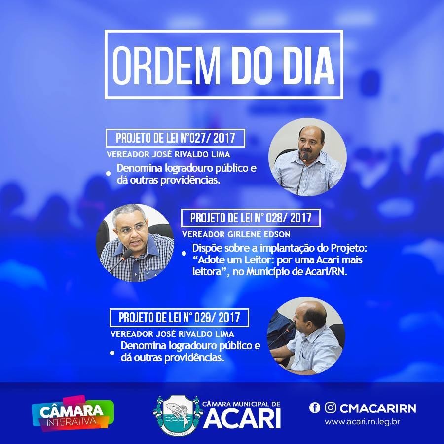 A Câmara Municipal de Acari divulga a seguir a Ordem do Dia da 17ª Sessão Ordinária
