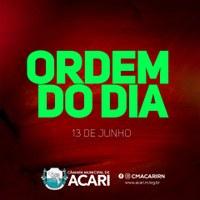 A Câmara Municipal de Acari divulga a seguir a Ordem do Dia da 18ª Sessão Ordinária