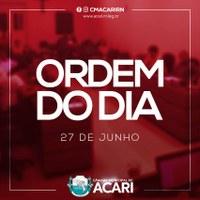 A Câmara Municipal de Acari divulga a seguir a Ordem do Dia da 20ª Sessão Ordinária