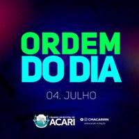 A Câmara Municipal de Acari divulga a seguir a Ordem do Dia da 21ª Sessão Ordinária, que acontece nesta terça-feira (04)