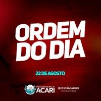 A Câmara Municipal de Acari divulga a seguir a Ordem do Dia da 2ª Sessão Ordinária do 2º Período Legislativo