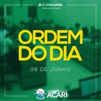 A Câmara Municipal de Acari divulga a seguir a Ordem do Dia