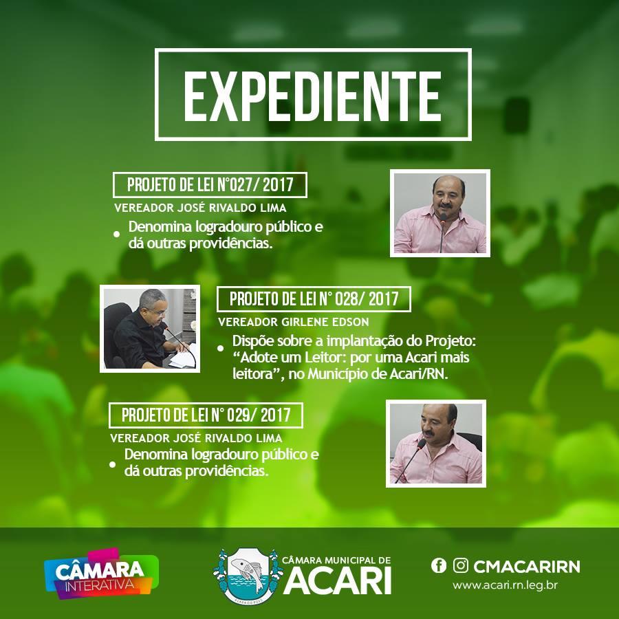 A Câmara Municipal de Acari divulga a seguir as matérias que darão entrada no Expediente da 16ª Sessão Ordinária