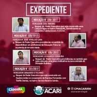 A Câmara Municipal de Acari divulga a seguir as matérias que darão entrada no Expediente da 5ª Sessão Ordinária