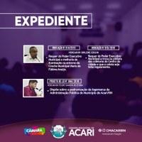A Câmara Municipal de Acari divulga a seguir as matérias que darão entrada no Expediente da 6ª Sessão Ordinária