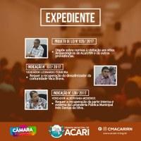 A Câmara Municipal de Acari divulga a seguir as matérias