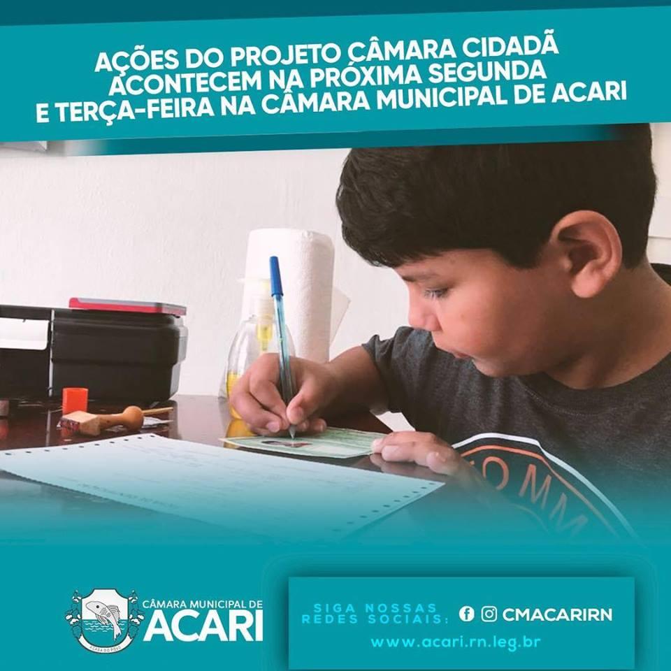 AÇÕES DO PROJETO CÂMARA CIDADÃ ACONTECEM NA PRÓXIMA SEGUNDA E TERÇA-FEIRA NA CÂMARA MUNICIPAL DE ACARI.