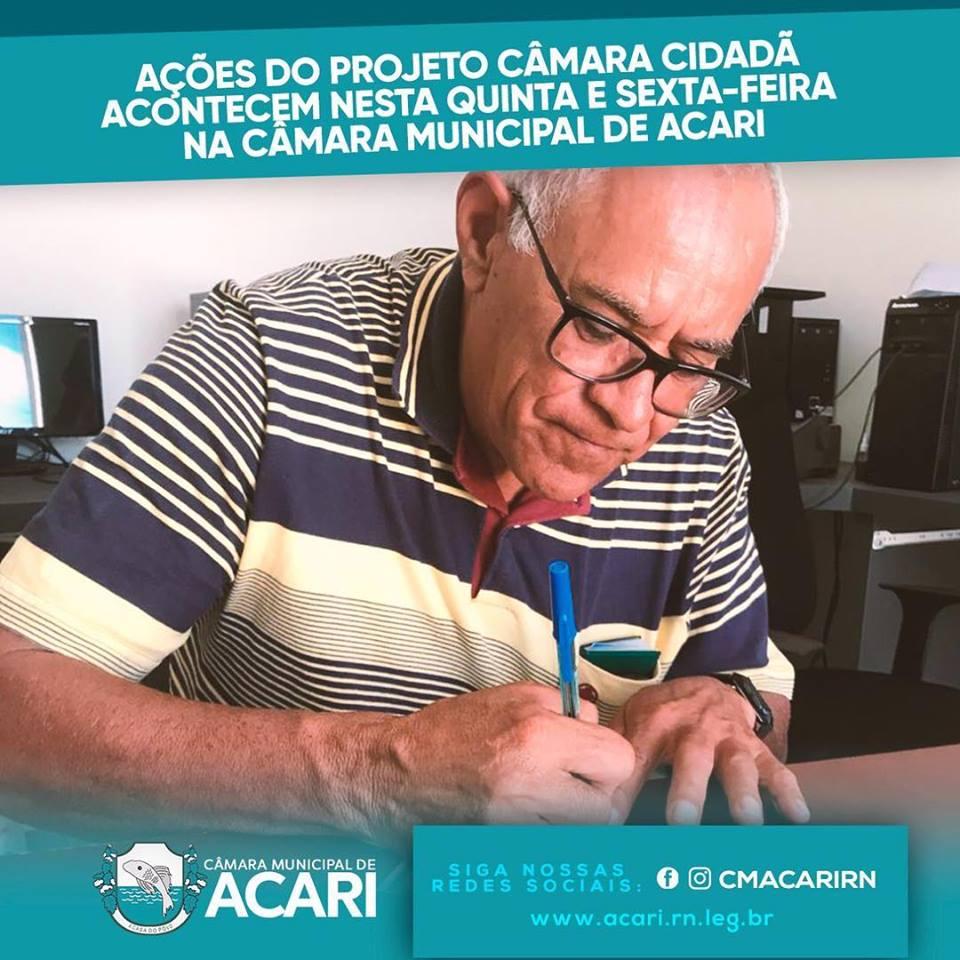 AÇÕES DO PROJETO CÂMARA CIDADÃ ACONTECEM NESTA QUINTA E SEXTA-FEIRA NA CÂMARA MUNICIPAL DE ACARI.