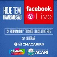 Acompanhe a partir das 19h mais uma transmissão ao vivo da 13ª Sessão Ordinária da Câmara Municipal de Acari.