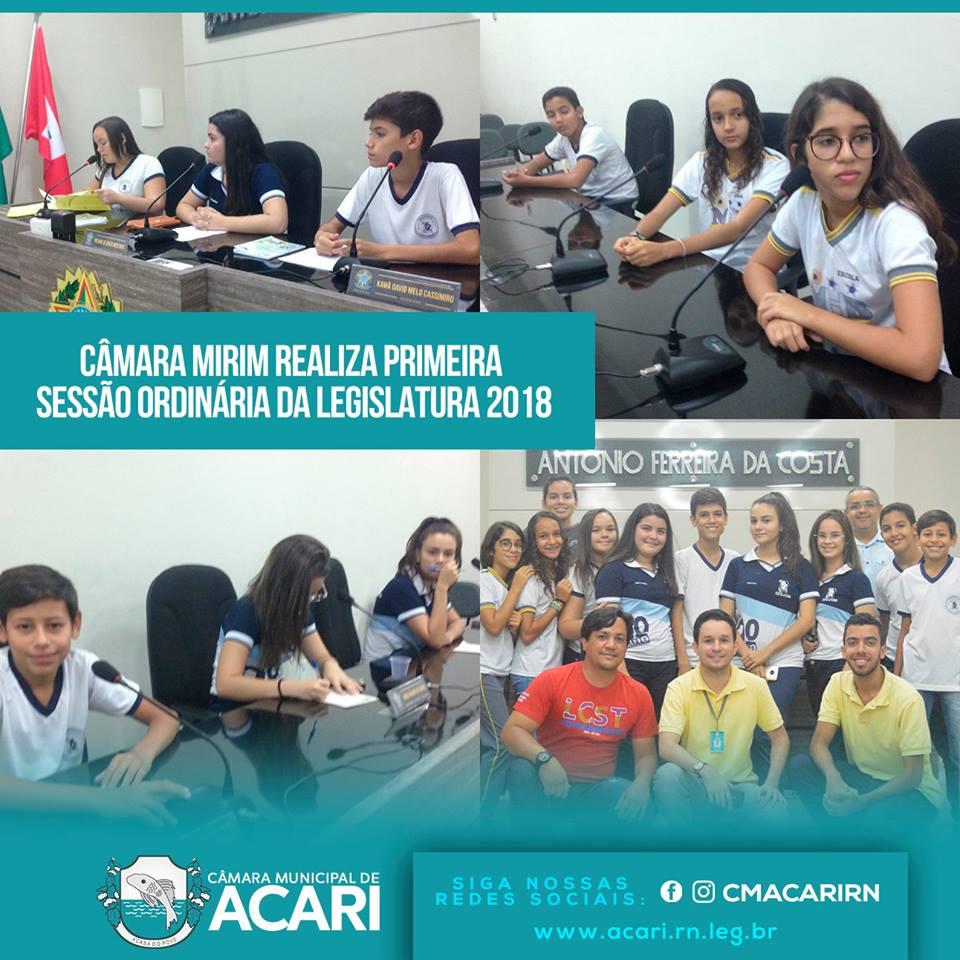 CÂMARA MIRIM REALIZA PRIMEIRA SESSÃO ORDINÁRIA DA LEGISLATURA 2018