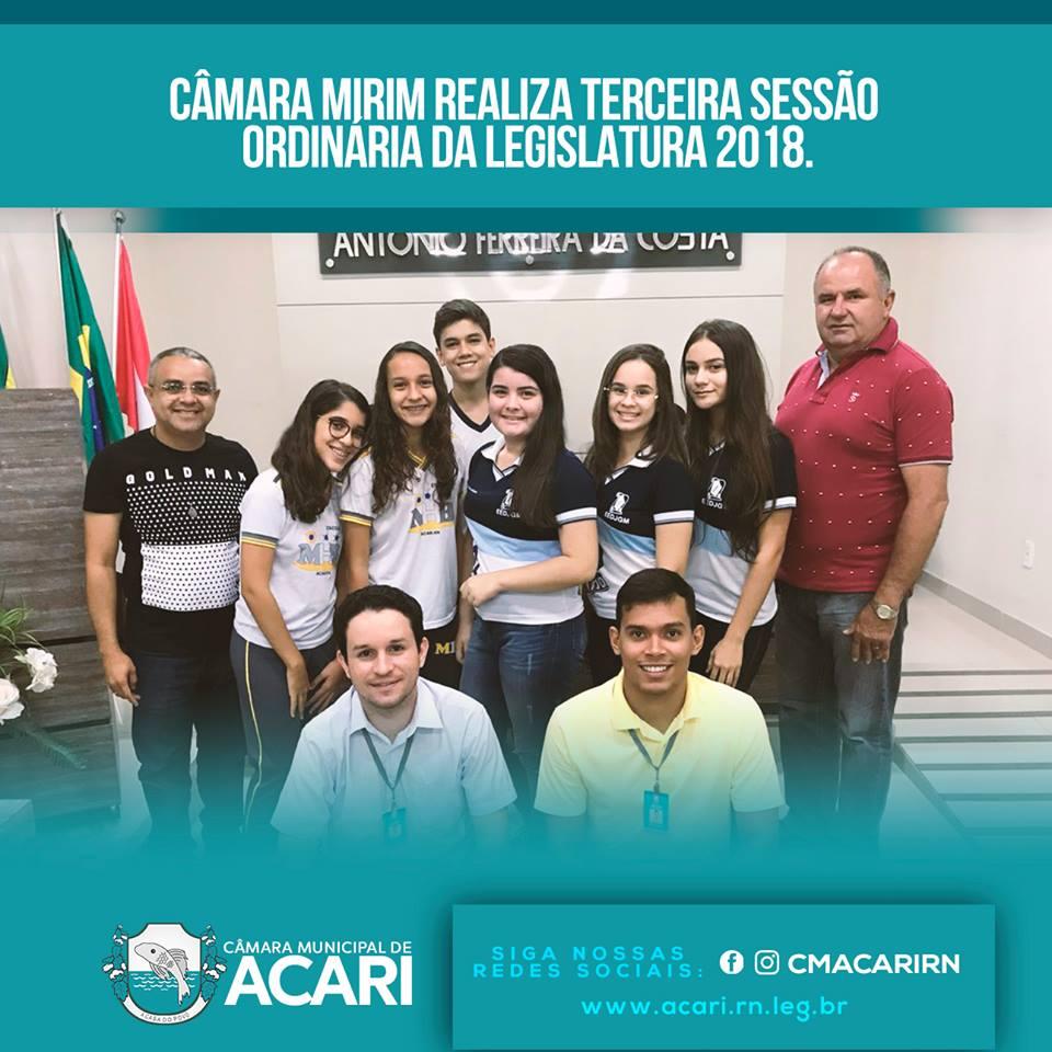 CÂMARA MIRIM REALIZA TERCEIRA SESSÃO ORDINÁRIA DA LEGISLATURA 2018.