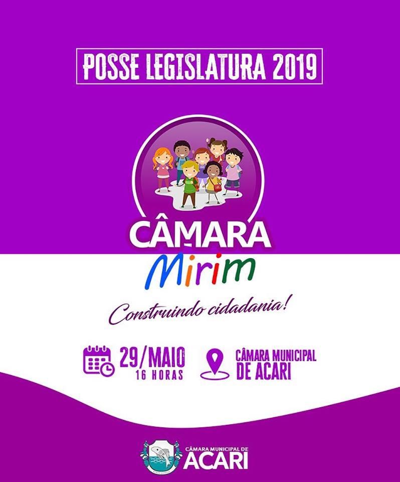 CÂMARA MIRIM: VEREADORES DA LEGISLATURA 2019 TOMAM POSSE NESTA QUARTA-FEIRA NA CÂMARA MUNICIPAL DE ACARI