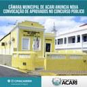 CÂMARA MUNICIPAL DE ACARI ANUNCIA NOVA CONVOCAÇÃO DE APROVADOS NO CONCURSO PÚBLICO