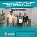 CÂMARA MUNICIPAL DE ACARI COBRA EXTENSÃO DA REDE DE ABASTECIMENTO D'ÁGUA DA RUA JOÃO SOLON DE MEDEIROS