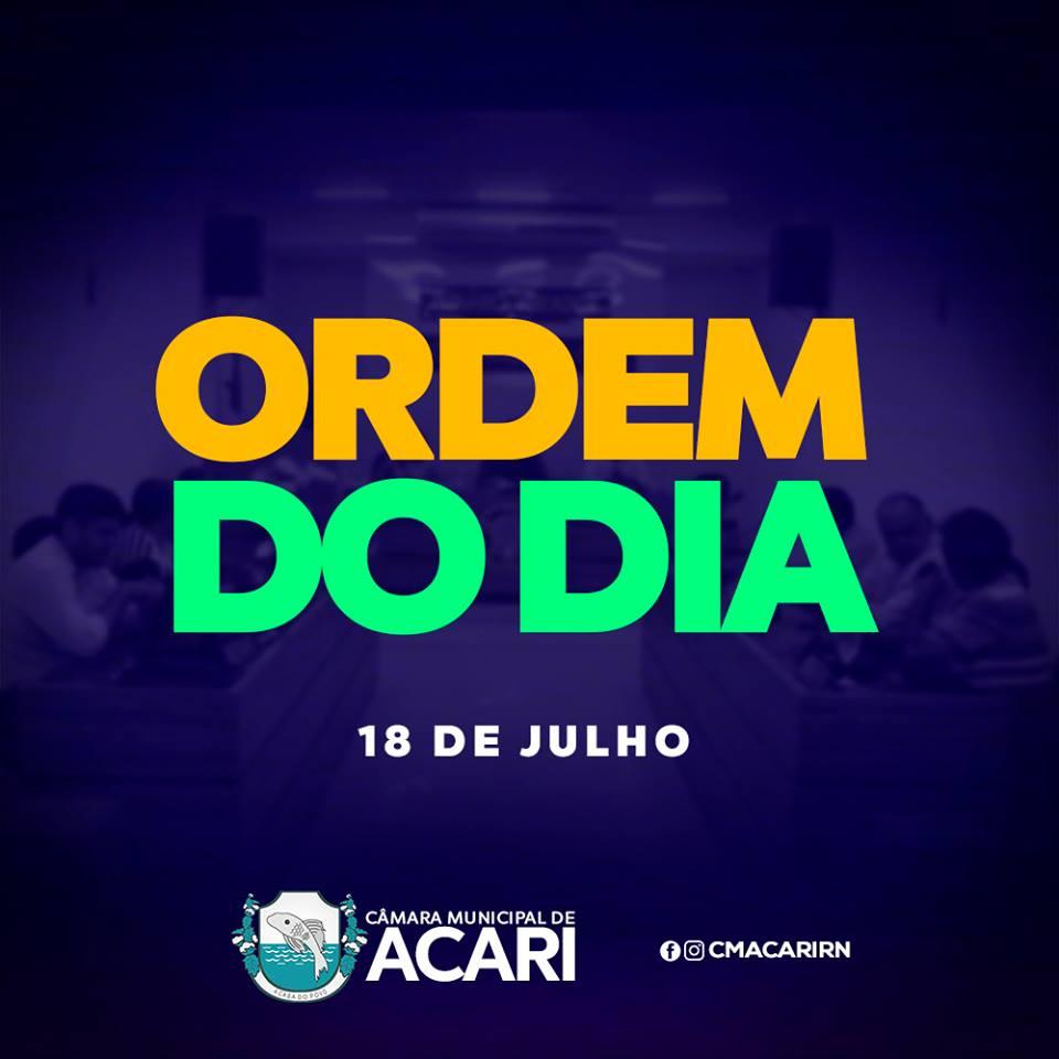 Câmara Municipal de Acari divulga a seguir a Ordem do Dia da 23ª Sessão Ordinária, que acontece nesta terça-feira (18)