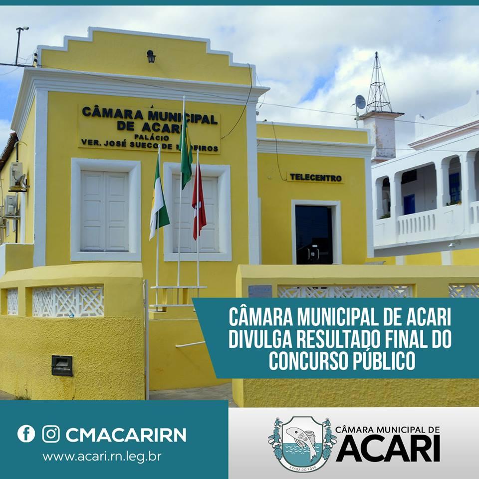 CÂMARA MUNICIPAL DE ACARI DIVULGA RESULTADO FINAL DO CONCURSO PÚBLICO