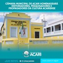 CÂMARA MUNICIPAL DE ACARI HOMENAGEARÁ HISTORIADORES, PESQUISADORES E PROPAGADORES DA CULTURA ACARIENSE