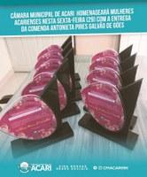 CÂMARA MUNICIPAL DE ACARI HOMENAGEARÁ MULHERES ACARIENSES NESTA SEXTA-FEIRA (29) COM A ENTREGA DA COMENDA ANTONIETA PIRES GALVÃO DE GÓES.