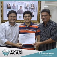 CÂMARA MUNICIPAL DE ACARI HOMENAGEIA PRIMEIRO ACARIENSE FAIXA PRETA DE JUDÔ