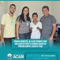 CÂMARA MUNICIPAL DE ACARI PROMOVE MAIS UMA AÇÃO DO PROJETO CÂMARA CIDADÃ NA PRÓXIMA QUINTA (05) E QUARTA-FEIRA (11)