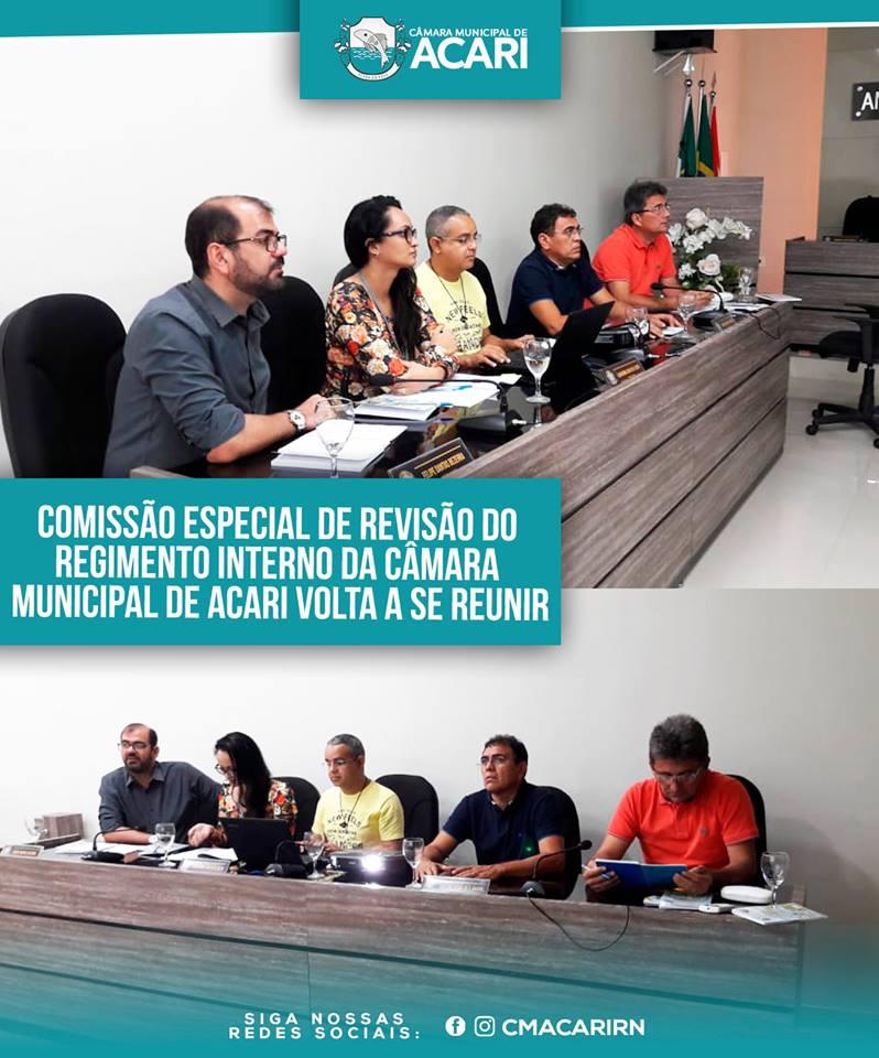 COMISSÃO ESPECIAL DE REVISÃO DO REGIMENTO INTERNO DA CÂMARA MUNICIPAL DE ACARI VOLTA A SE REUNIR