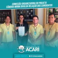 COMISSÃO ORGANIZADORA DO PROJETO CÂMARA MIRIM DIVULGA RELAÇÃO DOS CANDIDATOS