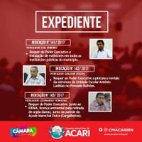 Confira as matérias que darão entrada no Expediente da 8ª Sessão