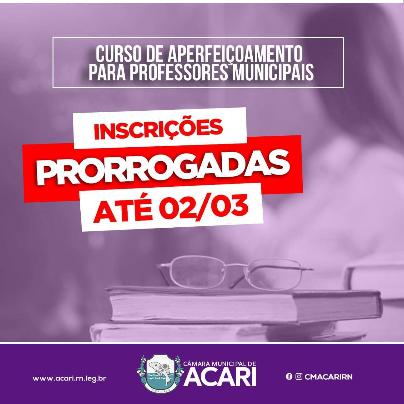 CURSO DE APERFEIÇOAMENTO PARA PROFESSORES MUNICIPAIS TEM INSCRIÇÕES PRORROGADAS