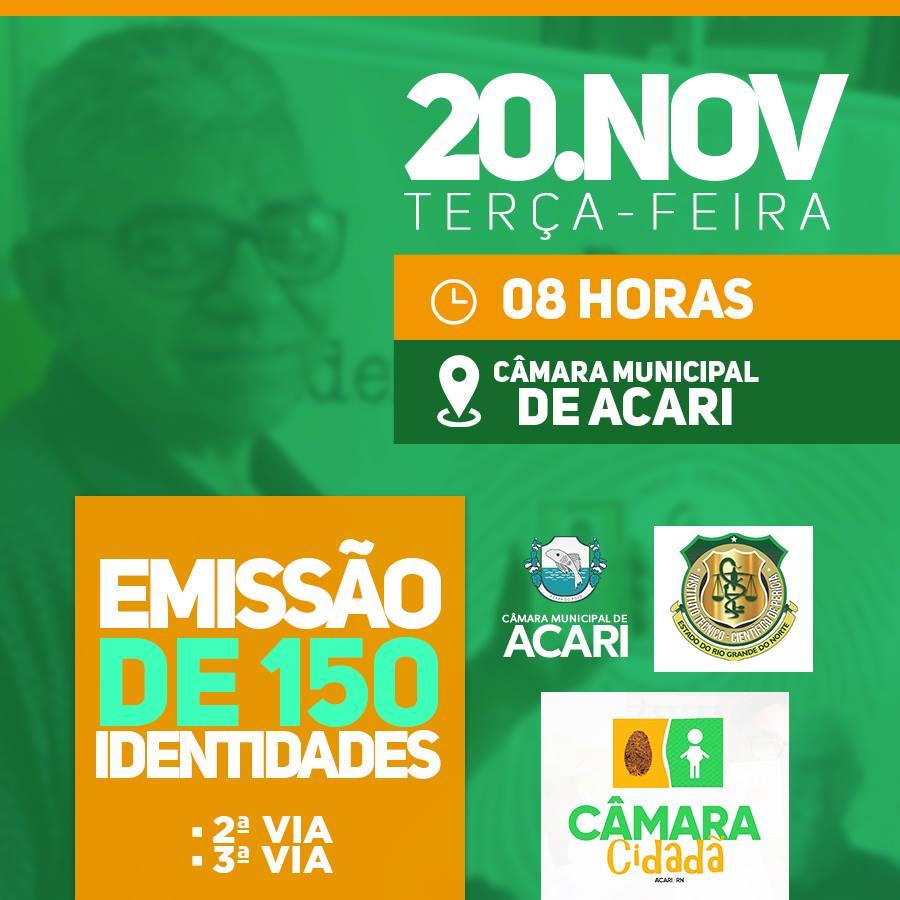 EM PARCEIRA COM O ITEP, CÂMARA MUNICIPAL DE ACARI PROMOVERÁ MUTIRÃO PARA EMISSÃO DA 2ª E 3ª VIA DO RG.