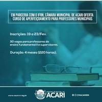 EM PARCERIA COM O IFRN, CÂMARA MUNICIPAL DE ACARI OFERTA CURSO DE APERFEIÇOAMENTO PARA PROFESSORES MUNICIPAIS