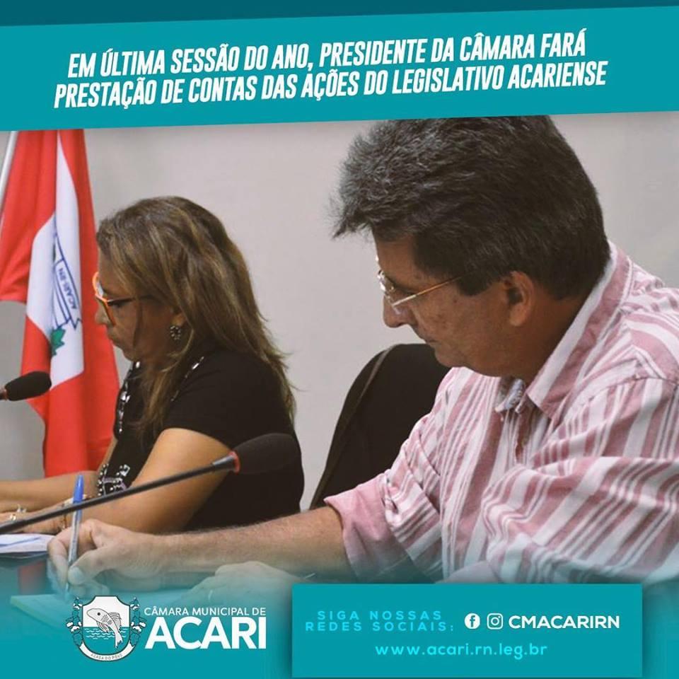 EM ÚLTIMA SESSÃO DO ANO, PRESIDENTE DA CÂMARA FARÁ PRESTAÇÃO DE CONTAS DAS AÇÕES DO LEGISLATIVO ACARIENSE.