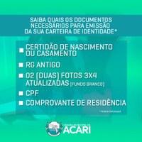 Nesta terça-feira, dia 20/11, a partir das 8h, teremos 150 renovações de RG na Câmara Municipal de Acari. Parceria com a regional do ITEP/RN.