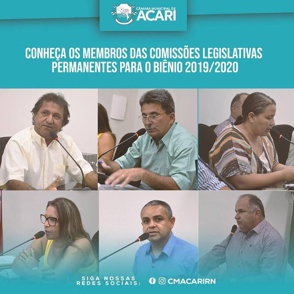 O Presidente da Câmara Municipal de Acari, o Vereador José Rivaldo Lima, divulgou durante a 1ª Sessão Ordinária nesta terça-feira (05) as Comissões Legislativas Permanentes para o Biênio 2019/ 2020. Conheça: