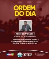 Ordem do Dia da 12ª Sessão Ordinária do 2º Período Legislativo de 2018