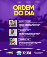Ordem do Dia da 13ª Sessão Ordinária do 2º Período Legislativo de 2018