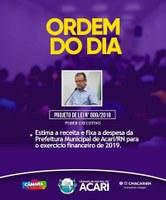 Ordem do Dia da 16ª Sessão Ordinária do 2º Período Legislativo de 2018