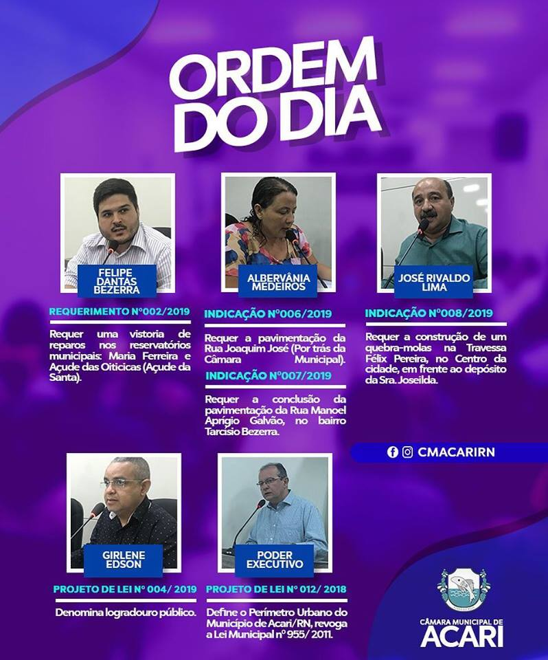 Ordem do Dia da 4ª Sessão Ordinária do 1ºPeríodo Legislativo de 2019