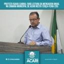 PREFEITO ISAIAS CABRAL FARÁ LEITURA DA MENSAGEM ANUAL NA CÂMARA MUNICIPAL DE ACARI NESTA TERÇA-FEIRA (20)