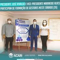 PRESIDENTE JOSÉ RIVALDO E VICE-PRESIDENTE MARINEIDE ALVES PARTICIPAM DE FORMAÇÃO DE GESTORES NESTE SÁBADO (26)