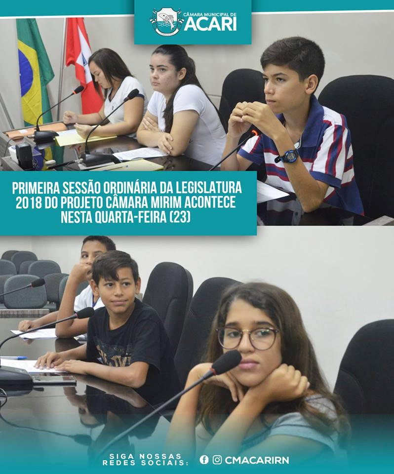 PRIMEIRA SESSÃO ORDINÁRIA DA LEGISLATURA 2018 DO PROJETO CÂMARA MIRIM ACONTECE NESTA QUARTA-FEIRA (23)