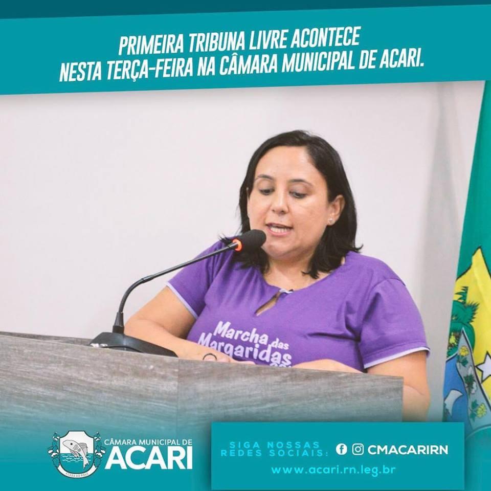 PRIMEIRA TRIBUNA LIVRE ACONTECE NESTA TERÇA-FEIRA NA CÂMARA MUNICIPAL DE ACARI.