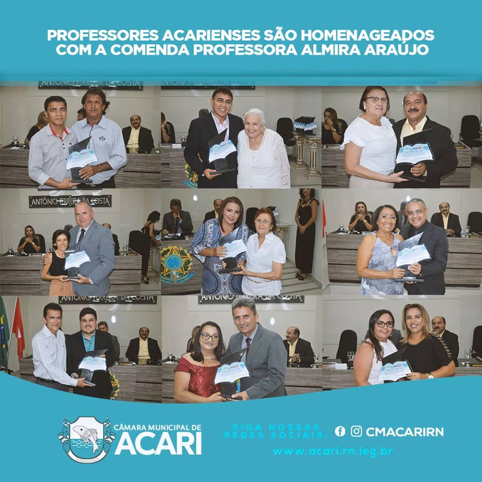 PROFESSORES ACARIENSES SÃO HOMENAGEADOS COM A COMENDA PROFESSORA ALMIRA ARAÚJO